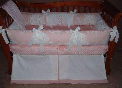 Vintage Pink Damask Crib Bedding