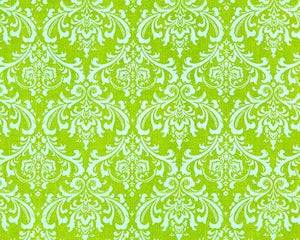 Lime Green & White Damask