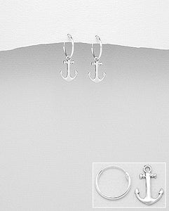 Anchor Hoop Earring