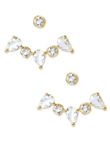 Clara Ear Jackets – White Topaz
