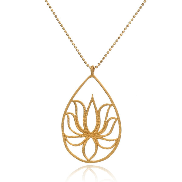 Gold Lotus Necklace – Teardrop Lotus
