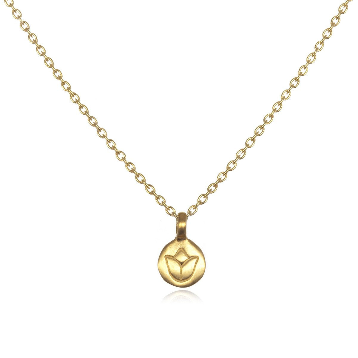 "Gold Lotus Necklace €"" Delicate Flower"