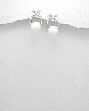 Pearl & Cubic Zirconia Earrings