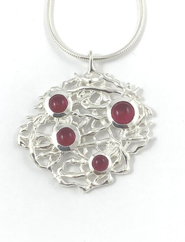 Branch Necklace with Garnets