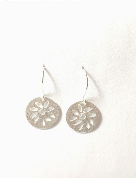Textured Petal Cutout Earrings in Silver