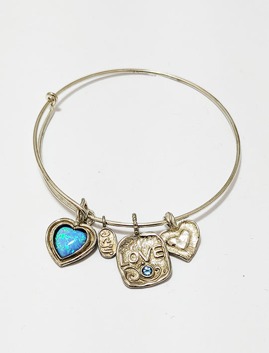 Silver Bangle With Charms