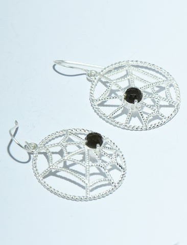Spider Web Circle Earrings in Silver
