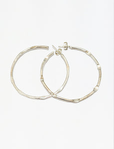 Silver Hoop Earrings Hammered