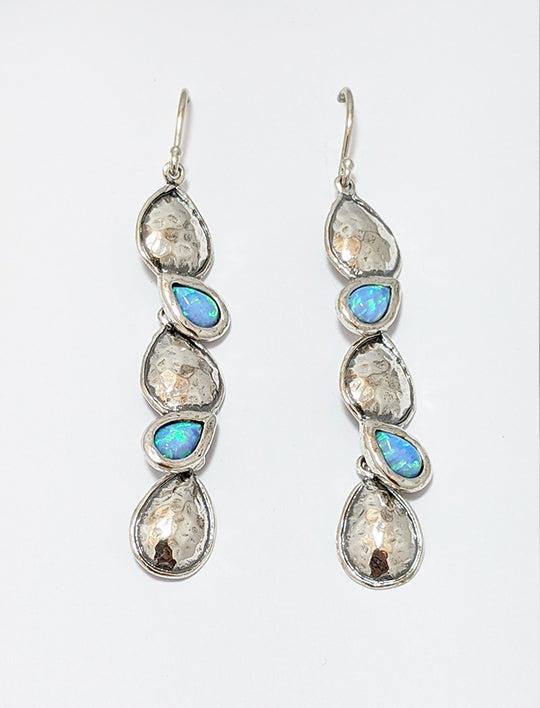 Opal And Silver Teardrop Earrings