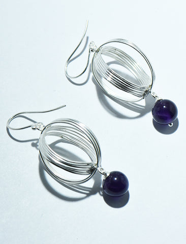 Wired Oval Shaped with Beads Earrings in SIlver