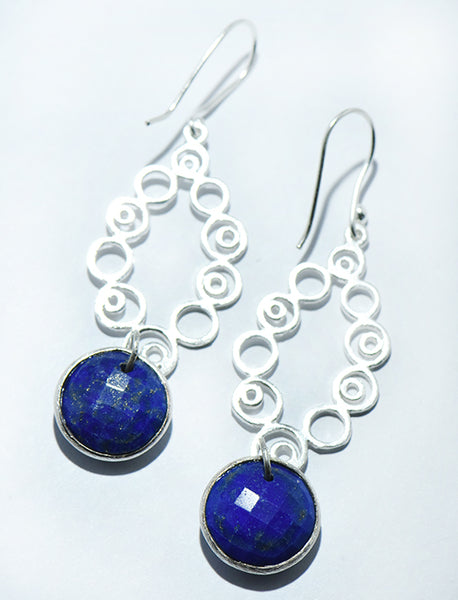 Checkerboard Stone Shambala Earrings in Silver
