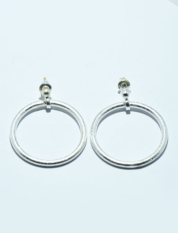 Textured Circle Earrings in Silver