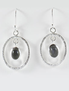 Oval Textured Stone Earrings in Silver