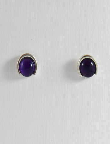 Half a Bezel Oval Shaped Studs
