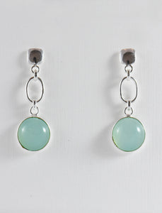 Blue Agate Earrings in Silver