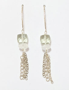 Green Amethyst And Moonstone Beads Earrings