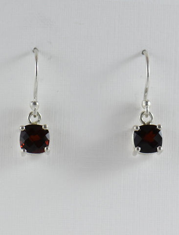 Checkerboard Garnet with Prong Setting Earrings in Silver