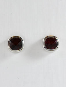 Cushion Cut Garnet with Bezel Earrings