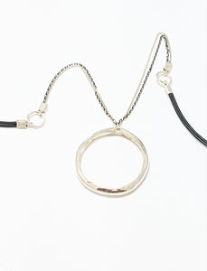 Circle Pendant With Black Cord