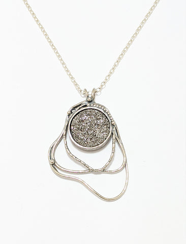 Silver And Druzy Necklace