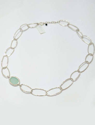 Oval Coupes With Blue Chalcedony Necklace