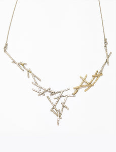Tricolor Twig Necklace In Silver