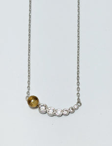 Yellow And White Cubic Necklace