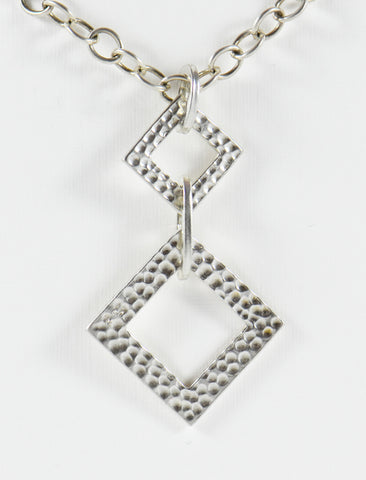 Hammered Double Squares Necklace