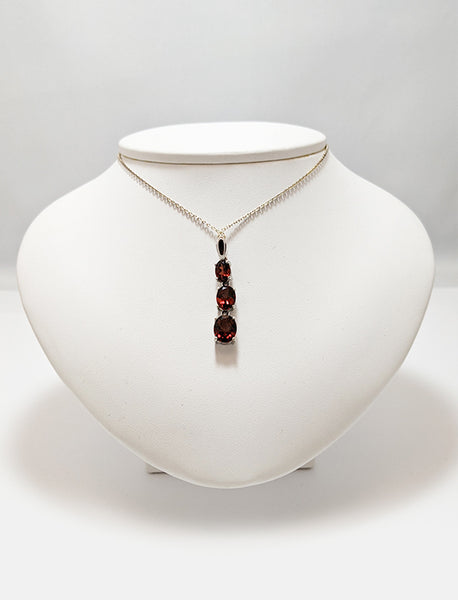 Three Stone Oval Garnet Necklace