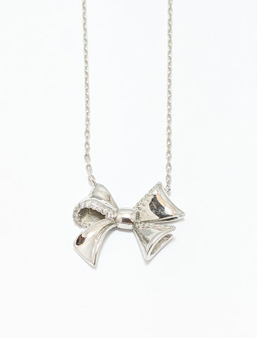 Silver Bow Necklace With Cubics