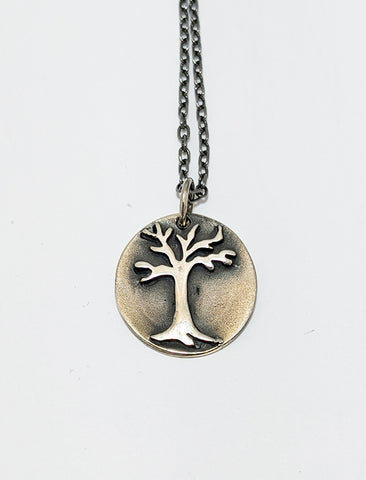Textured Silver Oxidized Tree Necklace