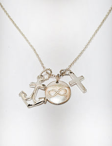 Cross Infinity Anchor Charms Silver Necklace