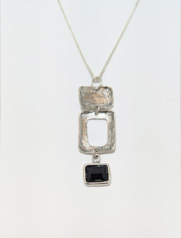 Black Onyx Triple Square Silver Necklace