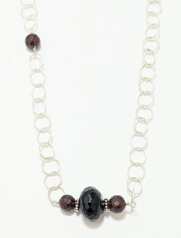 Garnet And Black Onyx Silver Necklace