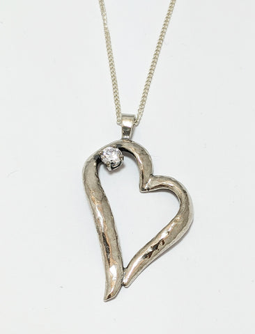 Heart With Cubic Silver Necklace