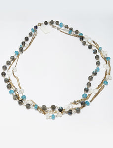 Moonstone Labradorite / Apatite Beaded Necklace