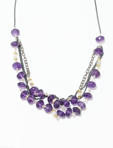 Amethyst Crystal Oxidized Silver Necklace