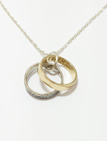 Forever Rings Necklace With Texture Sterling Silver