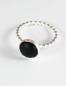 Black Onyx Checkerboard Ring with Dots