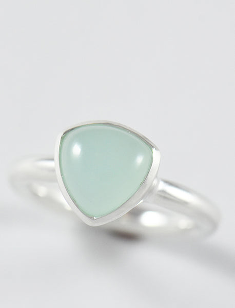 Blue Chalcedony Trillion Ring
