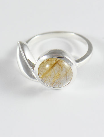 Leaf and Bezel Rutilated Quartz Ring