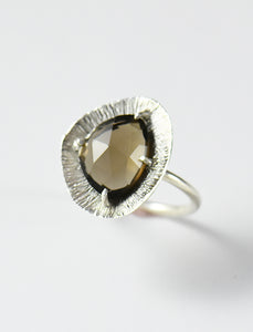 Textured Off Shape Disc Ring