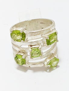 Peridot And Brushed Silver Ring With Five Stones
