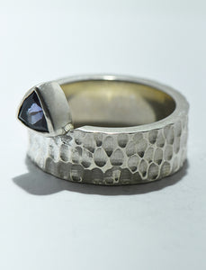 Iolite Ring Hammered Band in SIlver