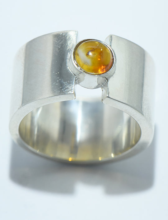 Citrine Ring Flat Band in Silver