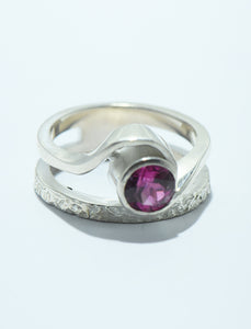 Pink Tourmaline Ring with Hammered Band