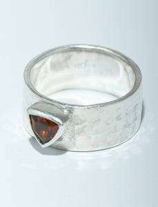 Trillion Garnet Silver Hammered Band