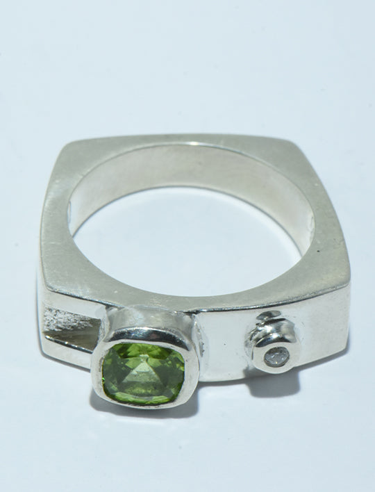 Peridot and Diamond Ring in Silver