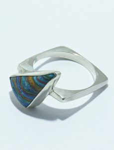 Rainbow Calcic in Silver Square Shape Band