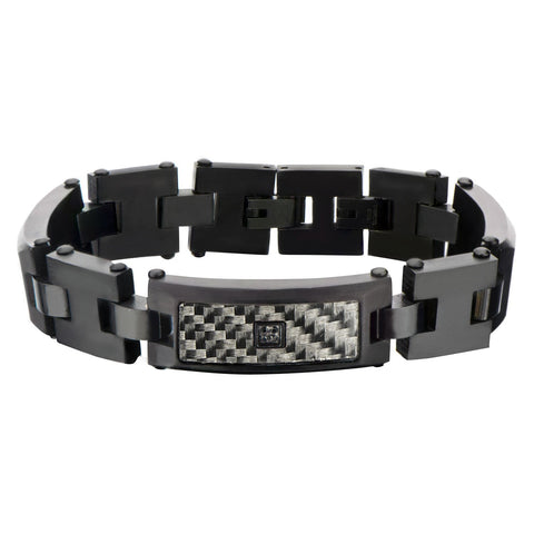 Men's Stainless Steel Black Bracelet with Black IP